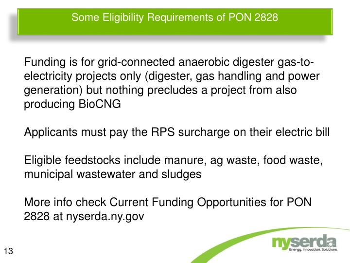 Some Eligibility Requirements of PON 2828