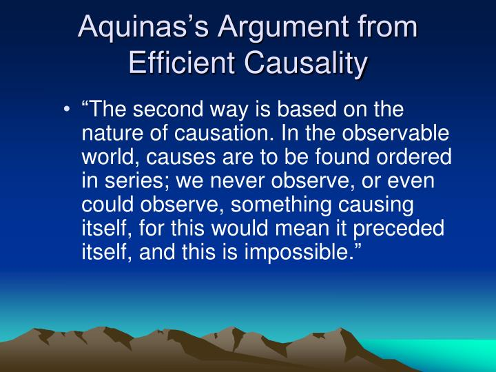 Aquinas's Argument from Efficient Causality