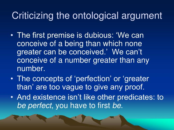 Criticizing the ontological argument