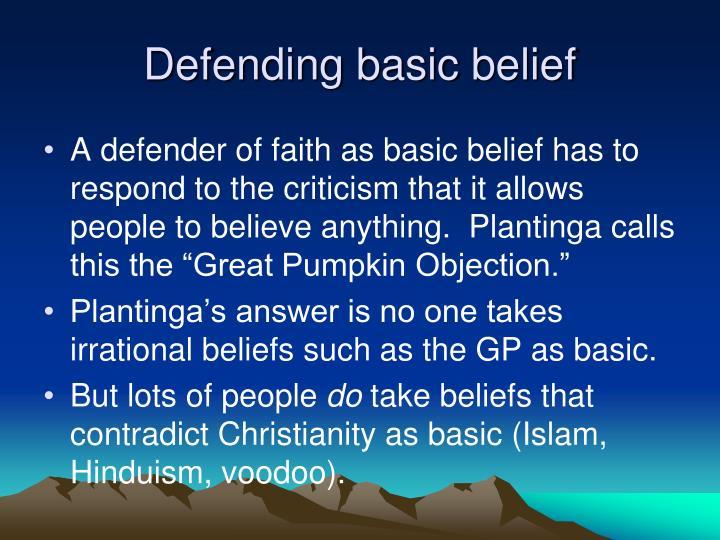 Defending basic belief