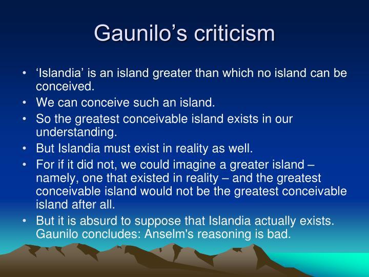 Gaunilo's criticism