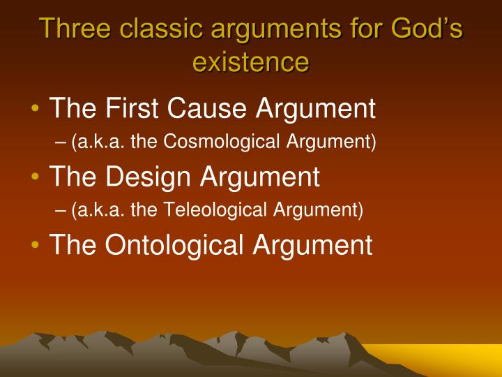 Three classic arguments for God's existence