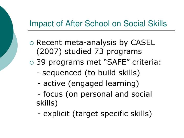 Impact of After School on Social Skills