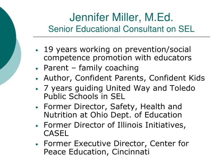 Jennifer miller m ed senior educational consultant on sel