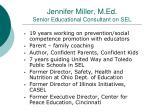 jennifer miller m ed senior educational consultant on sel