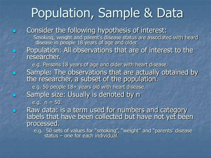 Population, Sample & Data