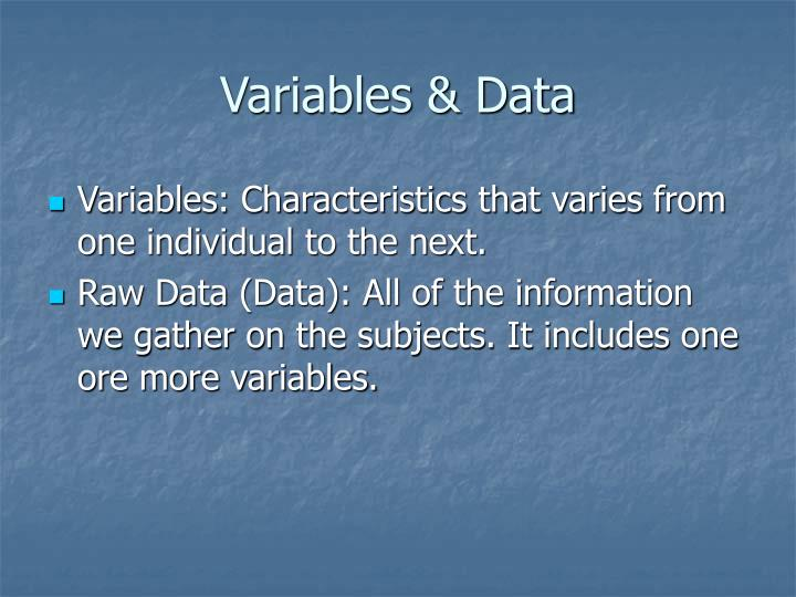 Variables & Data