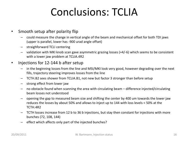 Conclusions: TCLIA