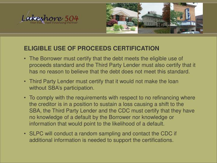 ELIGIBLE USE OF PROCEEDS CERTIFICATION