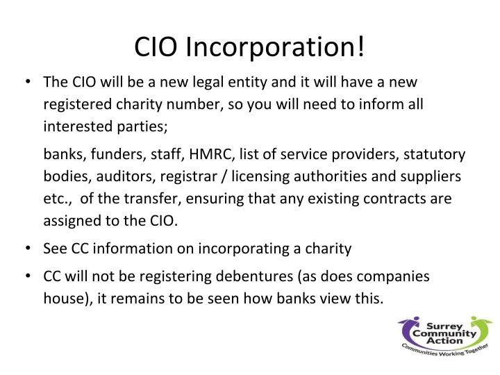 CIO Incorporation!