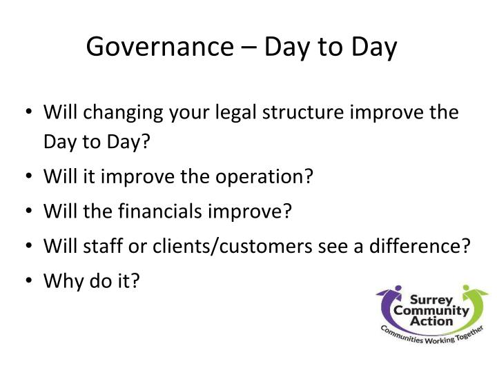 Governance – Day to Day