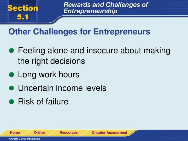 Other Challenges for Entrepreneurs