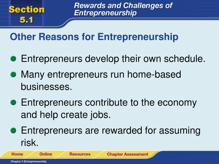 Other Reasons for Entrepreneurship