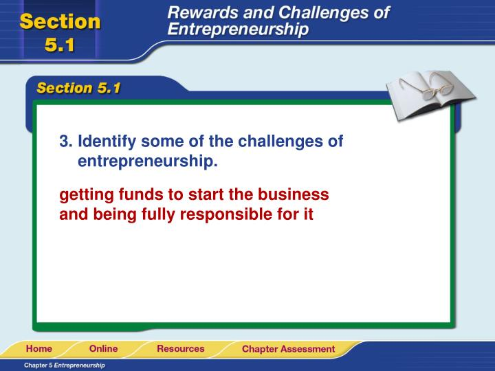 Identify some of the challenges of entrepreneurship.