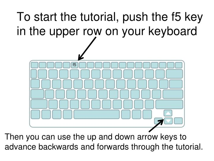 To start the tutorial push the f5 key in the upper row on your keyboard