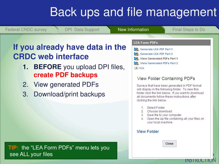 Back ups and file management