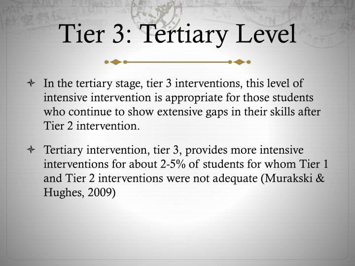 Tier 3: Tertiary Level