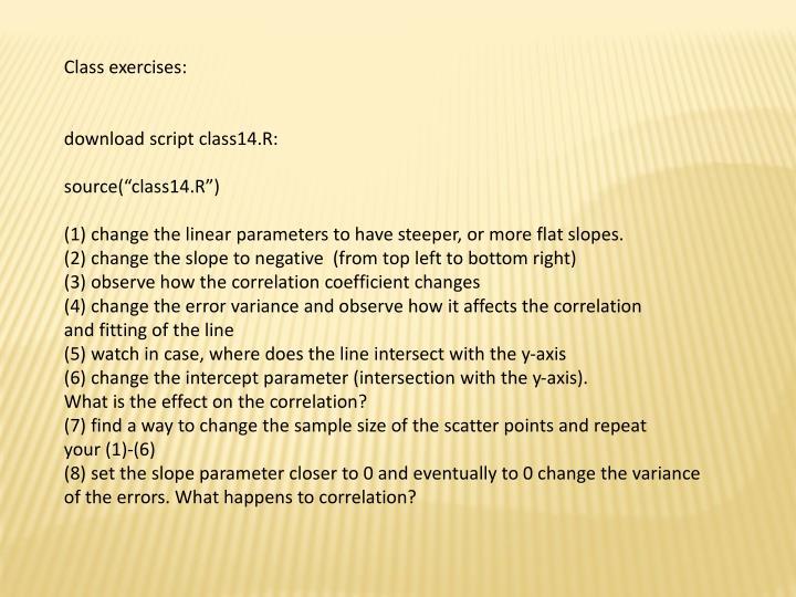 Class exercises: