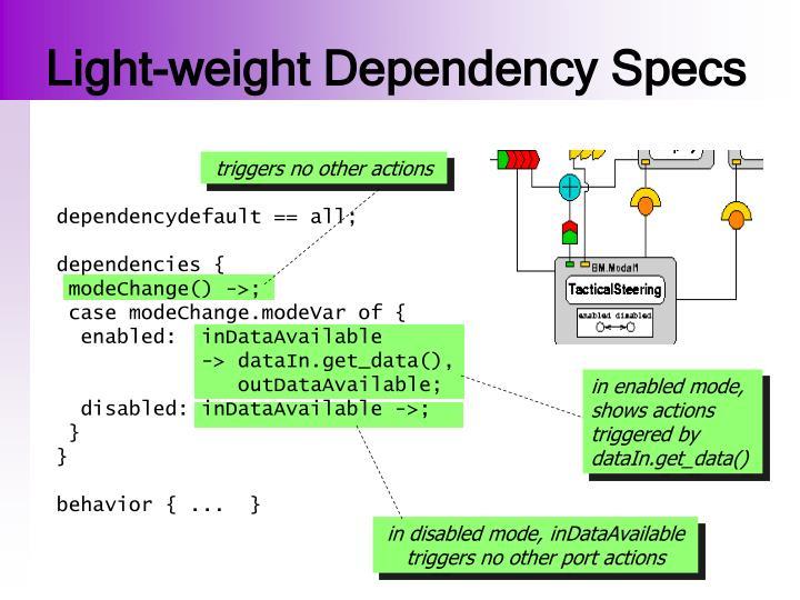 Light-weight Dependency Specs