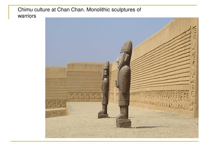 Chimu culture at Chan Chan. Monolithic sculptures of warriors