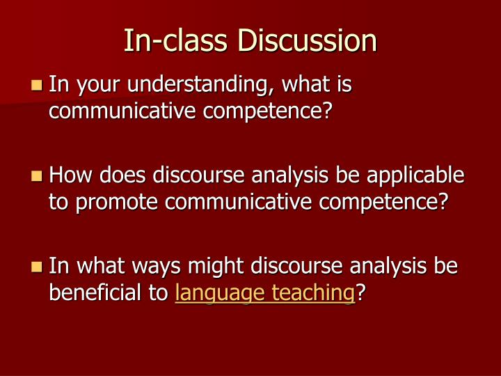 In-class Discussion