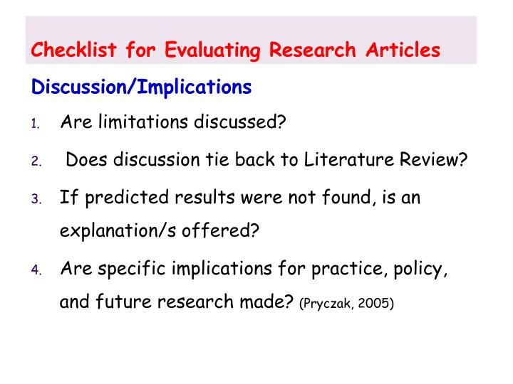 Checklist for Evaluating Research Articles