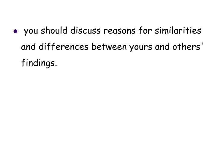 you should discuss reasons for similarities and differences between yours and others' findings.