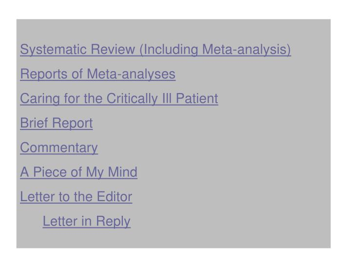 Systematic Review (Including Meta-analysis)