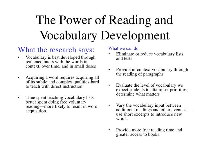 The power of reading and vocabulary development