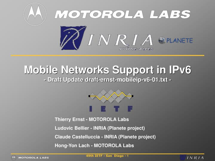 Mobile networks support in ipv6 draft update draft ernst mobileip v6 01 txt