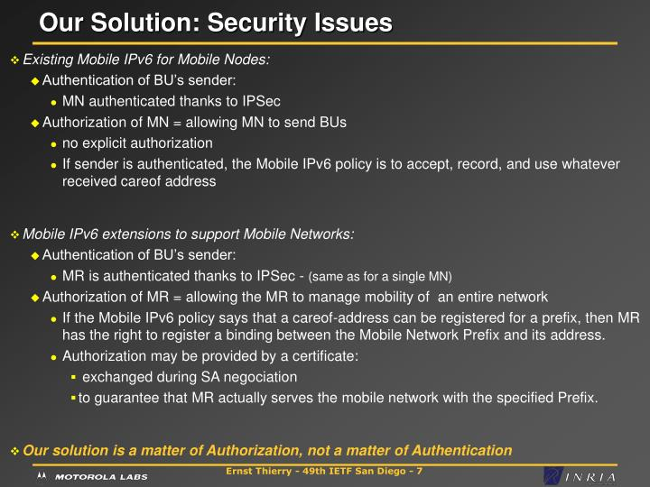 Our Solution: Security Issues