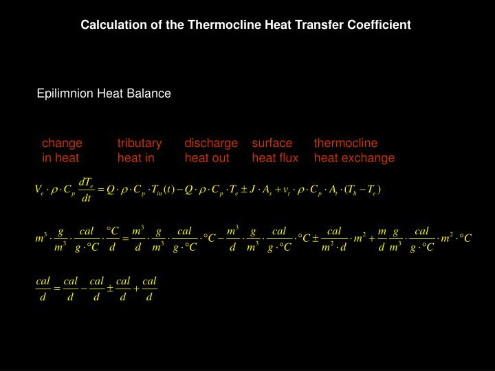Calculation of the Thermocline Heat Transfer Coefficient