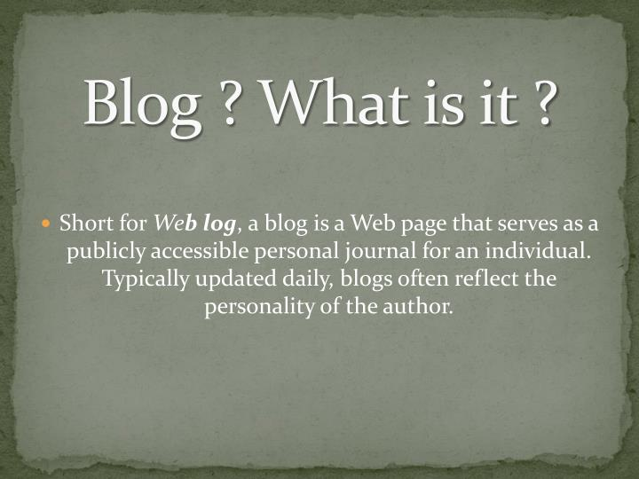 Blog what is it