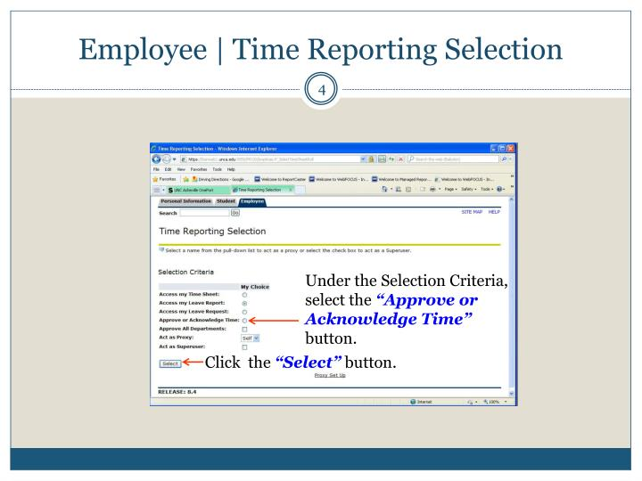 Employee | Time Reporting Selection