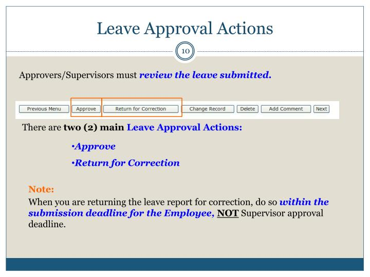 Leave Approval Actions