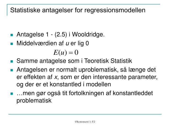 Statistiske antagelser for regressionsmodellen