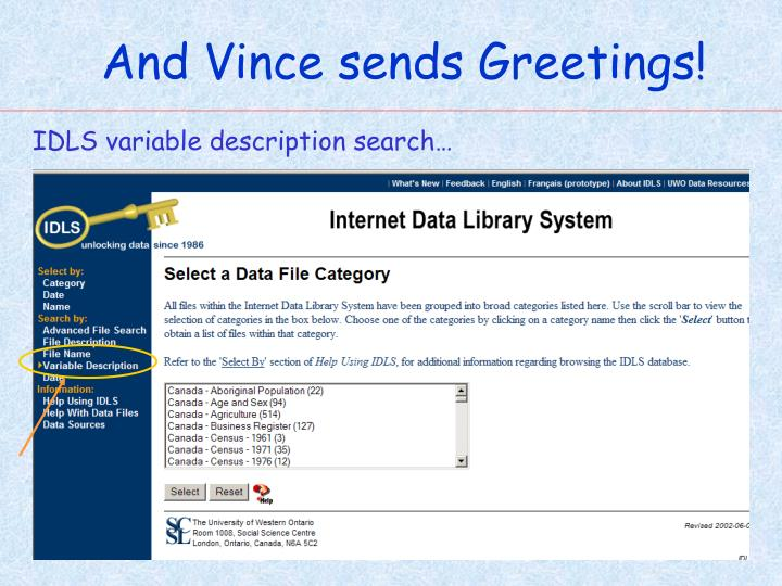 And Vince sends Greetings!