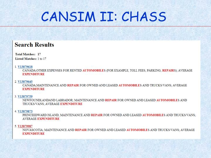 CANSIM II: CHASS