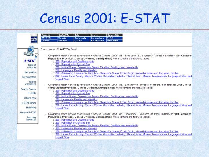 Census 2001: E-STAT
