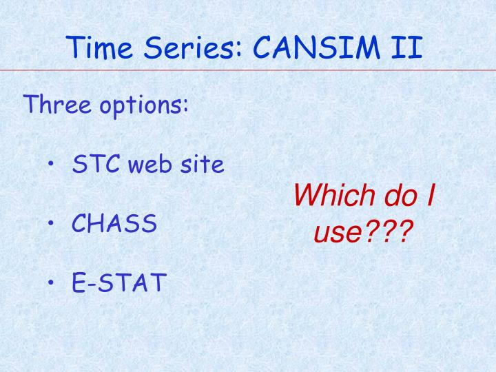 Time Series: CANSIM II