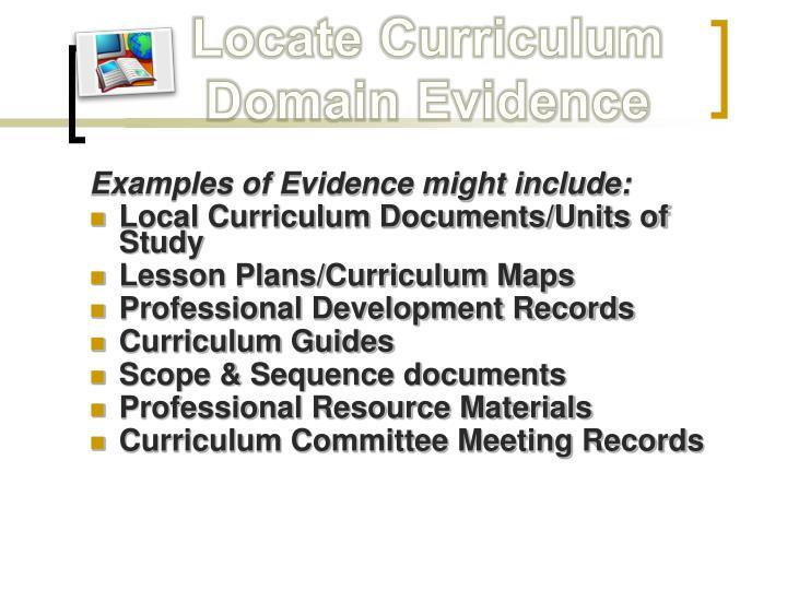 Locate Curriculum Domain Evidence