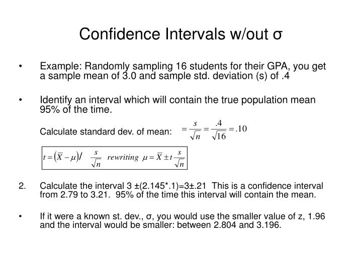 Confidence Intervals w/out
