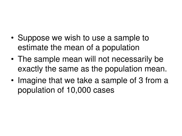 Suppose we wish to use a sample to estimate the mean of a population