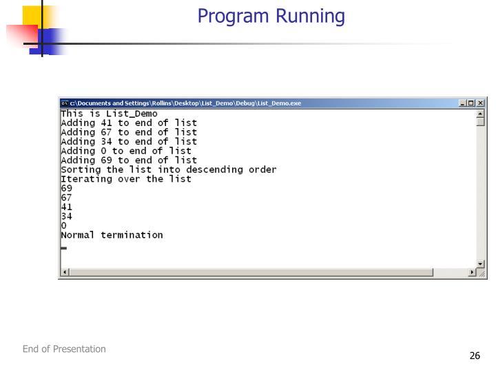 Program Running