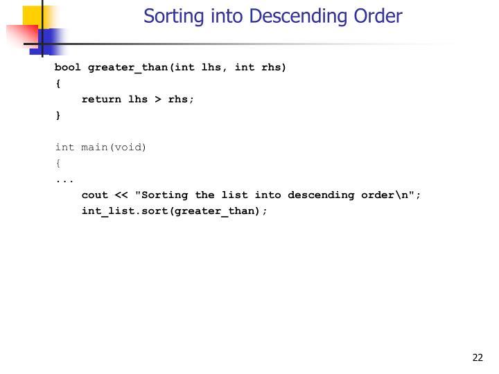 Sorting into Descending Order