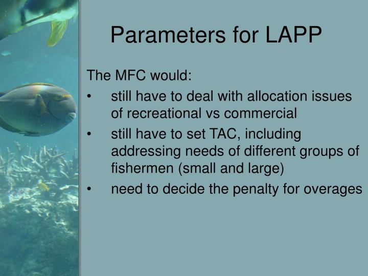 Parameters for LAPP