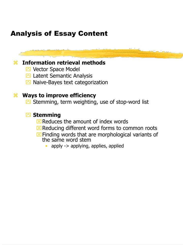 Analysis of essay content