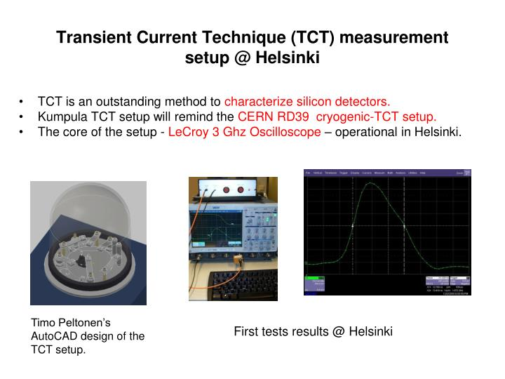 Transient current technique tct measurement setup @ helsinki