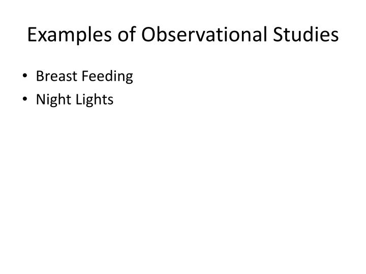 Examples of Observational Studies