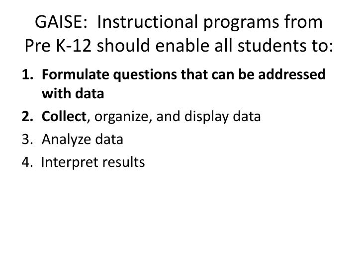 Gaise instructional programs from pre k 12 should enable all students to